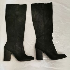 Calvin Klein Jeans Waxy Suede Black Boots Size 7.5